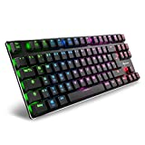 Sharkoon PureWriter RGB TKL Mechanische Low Profile-Tastatur (RGB Beleuchtung, rote Schalter, flache Tasten, Tenkeyless, Beleuchtungseffekte, abnehmbarem USB Kabel) schwarz